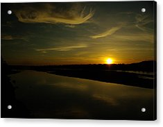 The Missouri River At Sunset South Of Culbertson Mt  Acrylic Print by Jeff Swan