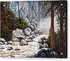The Mist At Bridalveil Falls Acrylic Print by Darice Machel McGuire