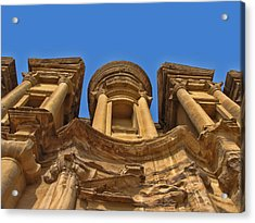 Acrylic Print featuring the photograph The Monastery In Petra by David Gleeson