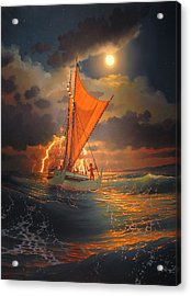 The Mo'okiha O Pi'ilani Sailing In Front Of The Storm In The Moonlight Acrylic Print by Loren Adams