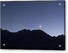 The Moon And Venus Over The Sierras Acrylic Print