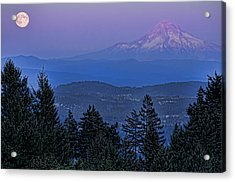 The Moon Beside Mt. Hood Acrylic Print