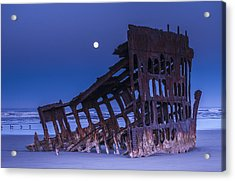 The Moon Sets Over The Wreck Acrylic Print