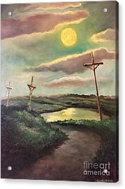 Acrylic Print featuring the painting The Moon With Three Crosses by Randol Burns