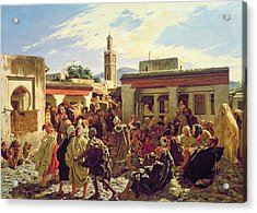 The Moroccan Storyteller Acrylic Print by Alfred Dehodencq