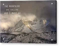 The Mountains Are Calling And I Must Go  John Muir Vintage Acrylic Print by Guido Montanes Castillo