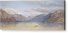 The Mountains Of St Gingolph Acrylic Print by John Brett