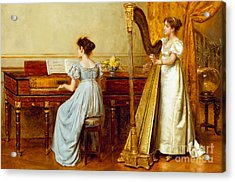 The Music Room Acrylic Print by George Goodwin Kilburne