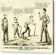 The National Game - Abraham Lincoln Plays Baseball Acrylic Print