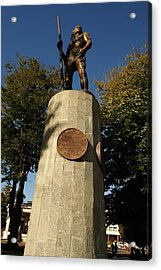 The Native Indian Lautaro -plaza Concepcion Acrylic Print by Thomas D McManus