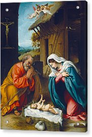 The Nativity 1523 Acrylic Print by Lorenzo Lotto