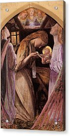 The Nativity With Angel Acrylic Print by Arthur Hughes