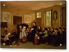 The Naughty School Children Acrylic Print by Theophile Emmanuel Duverger