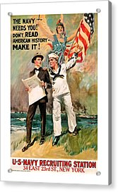 Acrylic Print featuring the mixed media The Navy Needs You by Presented By American Classic Art