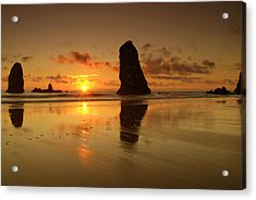 The Needles At Haystack - Cannon Beach Sunset  Acrylic Print by Brian Harig