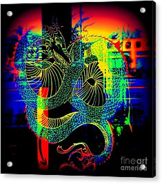 The Neon Dragon Acrylic Print by Kelly Awad