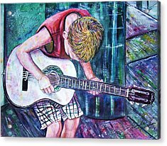 The New Guitar Acrylic Print by Linda Vaughon