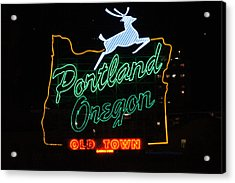 The New Portland Oregon Sign At Night Acrylic Print by DerekTXFactor Creative