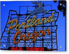 The New Portland Oregon Sign Day Time Acrylic Print by DerekTXFactor Creative