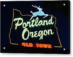 The New Portland Oregon Sign Acrylic Print by DerekTXFactor Creative