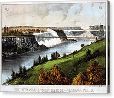 The New Suspension Bridge--niagara Falls Currier & Ives Acrylic Print
