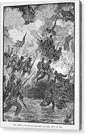 The Night Assault On Battery Wagner, July 18th 1863, Engraved By C. H. Reed, Illustration Acrylic Print by Julian Oliver Davidson
