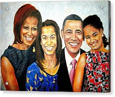 The Obama Family Acrylic Print by G Cuffia
