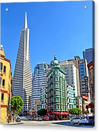 The Old And The New The Columbus Tower And The Transamerica Pyramid II Acrylic Print by Jim Fitzpatrick