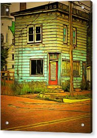 The Old Barber Shop Acrylic Print by MJ Olsen