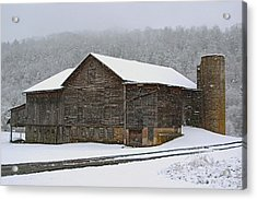 Acrylic Print featuring the photograph The Old Barn     Faded But Sturdy by Gene Walls