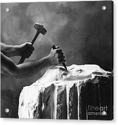 Acrylic Print featuring the photograph Chipping The Old Block by Mark Greenberg