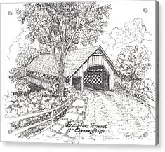 The Old Creamery Bridge Brattleboro Vt Pen Ink Acrylic Print by Carol Wisniewski