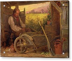 The Old Gardener Signed And Dated, Lower Right Br 1863 Acrylic Print