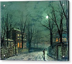 The Old Hall Under Moonlight Acrylic Print by John Atkinson Grimshaw