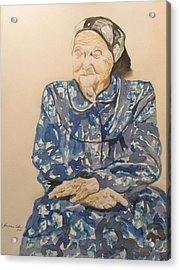 The Old Holocaust Survivor Acrylic Print by Esther Newman-Cohen