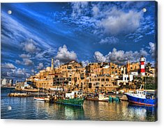 Acrylic Print featuring the photograph the old Jaffa port by Ron Shoshani
