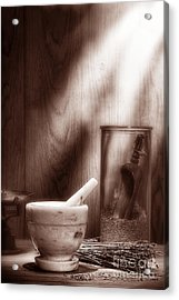 The Old Lavender Artisan Shop In Sepia Acrylic Print by Olivier Le Queinec
