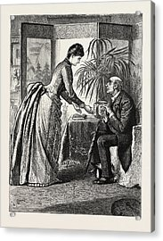 The Old Man And The Lady Acrylic Print by Du Maurier, George L. (1834-97), English