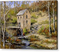 The Old Mill In Late Fall Acrylic Print by Virginia Potter