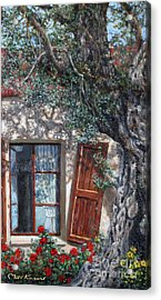 The Old Olive Tree And The Old House Acrylic Print by Miki Karni