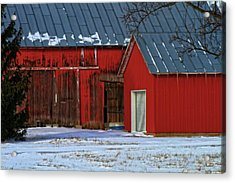 The Old Red Barn In Winter Acrylic Print by Dan Sproul