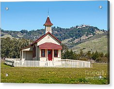 The Old San Simeon Schoolhouse In California With The Famous Hearst Castle In The Background. Acrylic Print