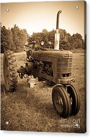 The Old Tractor Sepia Acrylic Print