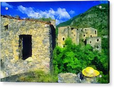 Acrylic Print featuring the mixed media The Old Village And The Yellow Hat by Enrico Pelos