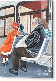 The Orange Coat On The 107 Bus Acrylic Print
