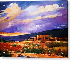 Acrylic Print featuring the painting The Orange Glow Of Sunset by Al Brown