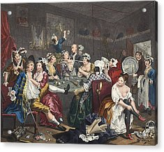 The Orgy, Plate IIi From A Rakes Acrylic Print by William Hogarth
