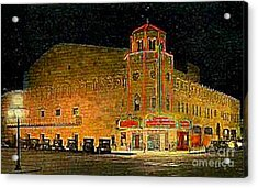 The Orpheum Theatre At Night In Phoenix Az In 1932 Acrylic Print by Dwight Goss