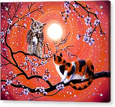The Owl And The Pussycat In Peach Blossoms Acrylic Print by Laura Iverson