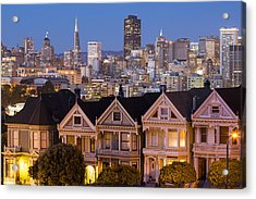 The Painted Ladies And San Francisco Skyline Acrylic Print